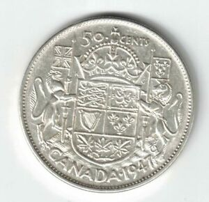 CANADA-1947-C7-50-CENTS-HALF-DOLLAR-KING-GEORGE-VI-CANADIAN-800-SILVER-COIN