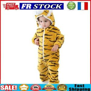 Tiger Shaped Flannel Rompers Baby Kids Long Sleeve Hoodies Jumpsuit (6-12M)