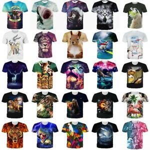 Animal-Funny-3D-Print-Womens-Mens-Summer-Casual-T-Shirt-Short-Sleeve-Graphic-Tee