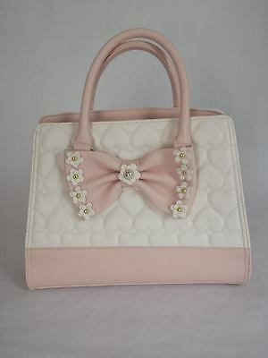 Betsey Johnson 3D FLIRTY FLORAL SATCHEL Cream Quilted HEARTS BM19560 blush pink