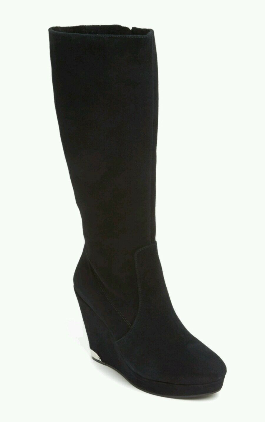 NEW VINCE CAMUTO KESSIA $280 TALL EQUESTRIAN BLACK SUEDE WEDGES BOOTS 41 10