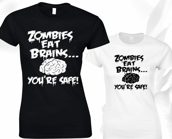 Zombies Eat Brains Youre Safe Ladies T Shirt Walking Dead