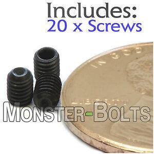 3mm x 0.50 x 4mm - Qty 20 - DIN 916 Cup Point Socket Set Screws Allen - M3 Grub