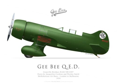 Jacqueline Cochran Print Gee Bee QED 1934 McRobertson race by G. Marie