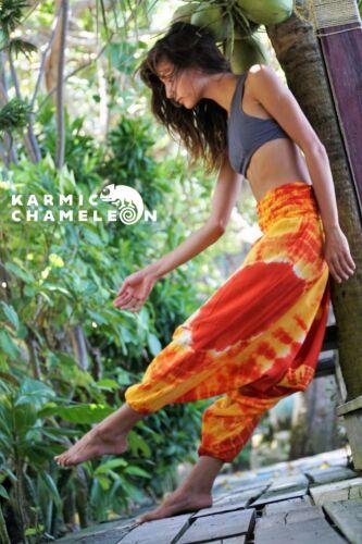 Harem Hippie Pants Tie Dye Orange Yellow Yoga Festival Loose Festival Aladdin