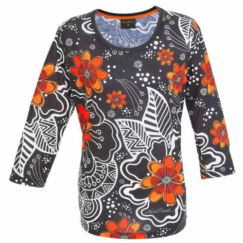 Laurel Burch 3//4 Sleeve Tee Shirt White on Black Florals Med-XXL 100/% Polyester