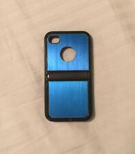 Iphone Case For 4/4S - Aluminum brushed metal inlay TPU case with chrome stand