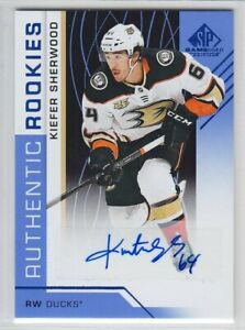 2018-19-UD-SP-GAME-USED-KIEFER-SHERWOOD-RC-AUTO-BLUE-ROOKIE-AUTOGRAPH-173-Ducks