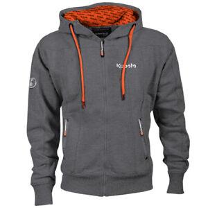 Kubota Branded Grey and Orange Zip Hoodie with Pockets
