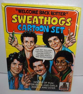 Welcome Back Kotter Sweathogs Cartoon Set Sheets,Tracing Paper,Pencils, 1977