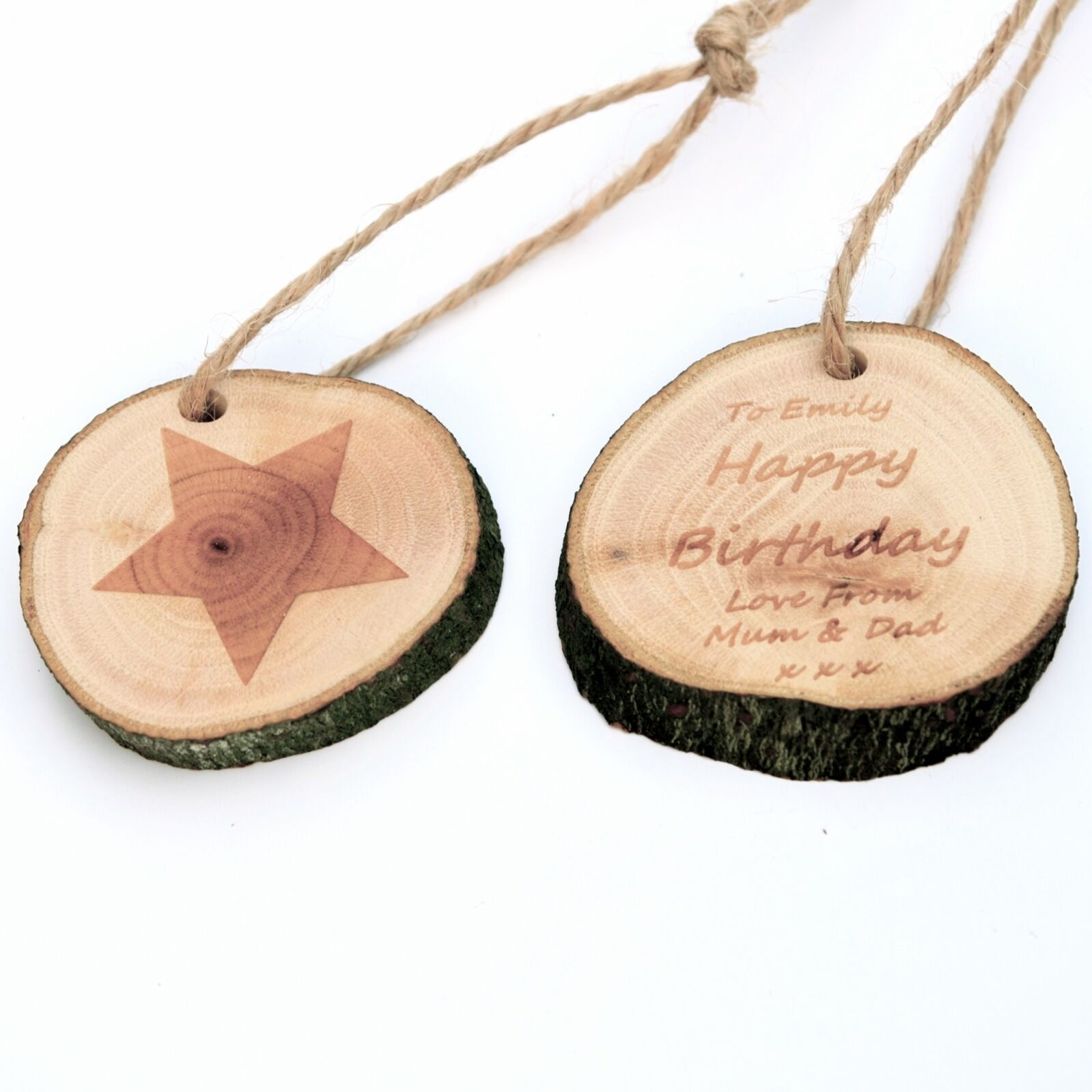 Birthday Gift Tag. Personalised RusticLog Slice Engraved With Star And Message.