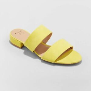 6c551dd4fd6 A New Day Kyrielle Yellow Shoes Open Toe Slide Sandals Low Block ...
