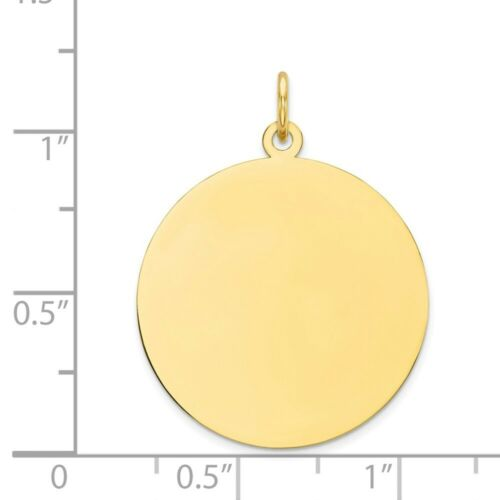Genuine 10k Yellow Gold Plain Circular Engravable Disc Charm .013 Gauge 1.41 gr