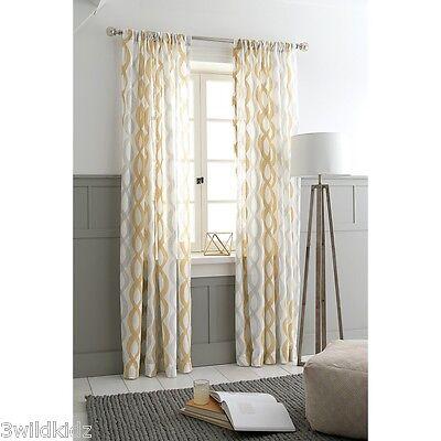 Threshold Semi Sheer Wavy Lines Curtain Panel Tan Khaki