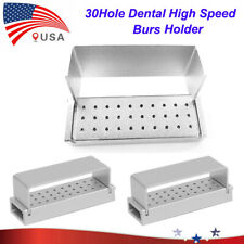 New Listing2pcs Aluminium Dental Burs Holder Block 30 Holes Silver Disinfection Autoclave
