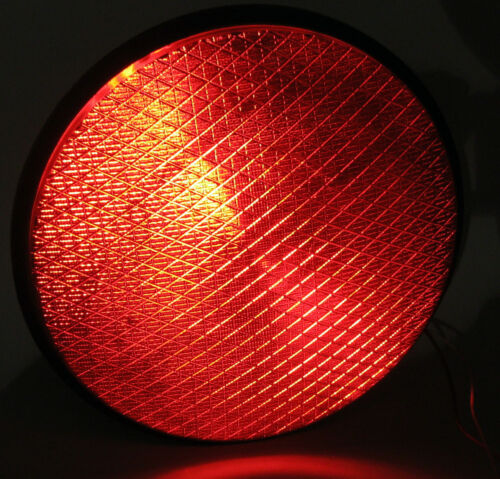 "Traffic Signal Light Red Solid LED Stop Light 120v 12/"" Dia 5/"" Deep"