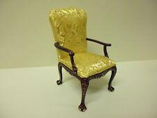 Quality 1/12th  Dolls House Furniture   Mahogany Gilt Chair   04053