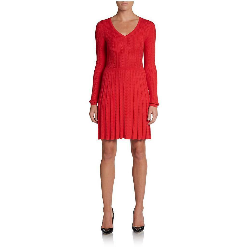 NWT BCBG MAXAZRIA Keila Cable-Knit Dress red berry size s
