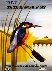 Visit Great Britain England Vintage Railroad Travel Advertisement Poster Print