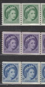 1954 #345 2¢ #347 4¢ & #348 5¢  WILDING PORTRAIT COIL PAIRS F-VFNH
