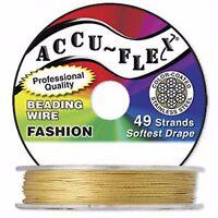 100' .019 Gold Color Accuflex 49 Str Beading Wire