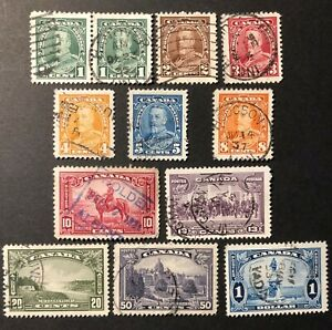 CANADA 1935 #s 217-227 KING GEORGE V 'PICTORIAL' ISSUE - SET OF 11 USED