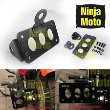 Side Mount License Plate Bracket Holder For Harley Chopper Brake Taillight Black