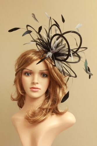 Black /& Silver Fascinator hat//choose any colour satin// feathers