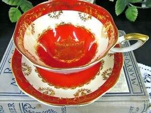 ROYAL-STANDARD-tea-cup-and-saucer-hot-red-vintage-teacup-wide-mouth-footed