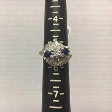 Ladies 14k White Gold .47CTW Cocktail Diamond & Blue Stone Ring 5.75g Size 5.75