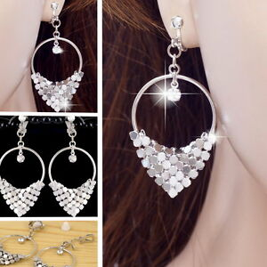 E121H-CLIP-ON-EARRINGS-Party-Hoop-Crystal-Dangle-Women-White-Gold-Plated-NEW