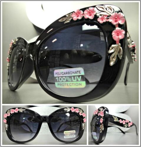 OVERSIZED VINTAGE RETRO CAT EYE Style SUNGLASSES Thick Black Frame Floral Design