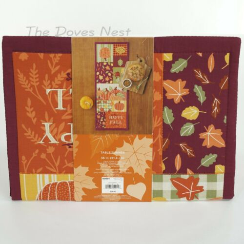 """Pumpkins Mugs 36/"""" CELEBRATE FALL TOGETHER Autumn HAPPY FALL Table RUNNER Leaves"""
