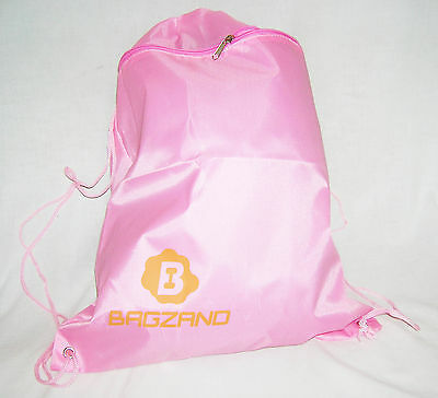 Effizient Senior Pink Drawstring Bag Backpack Large Front Zipped Pocket All Sports Gym Bag Lange Lebensdauer