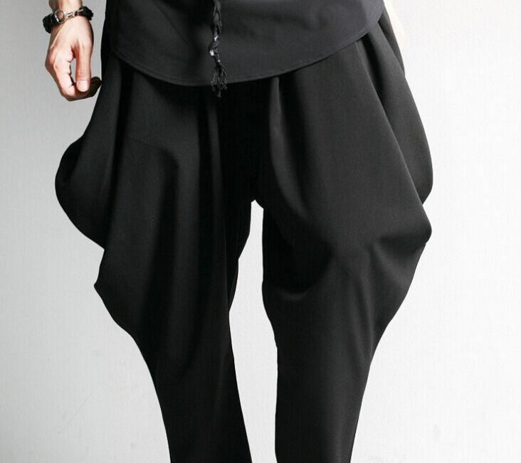 Mens Hip Hop Long Trouser Dance Avant-garde Loose Casual Pants Bootcut Harem HOT
