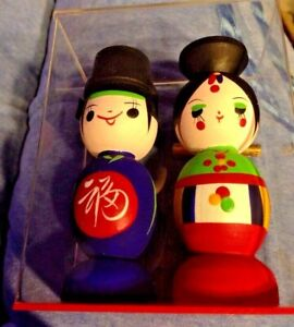 Japanese-Wooden-Kokeshi-Dolls-Japan-Souvenir-Folk-Doll-Sealed-in-Plastic-Case