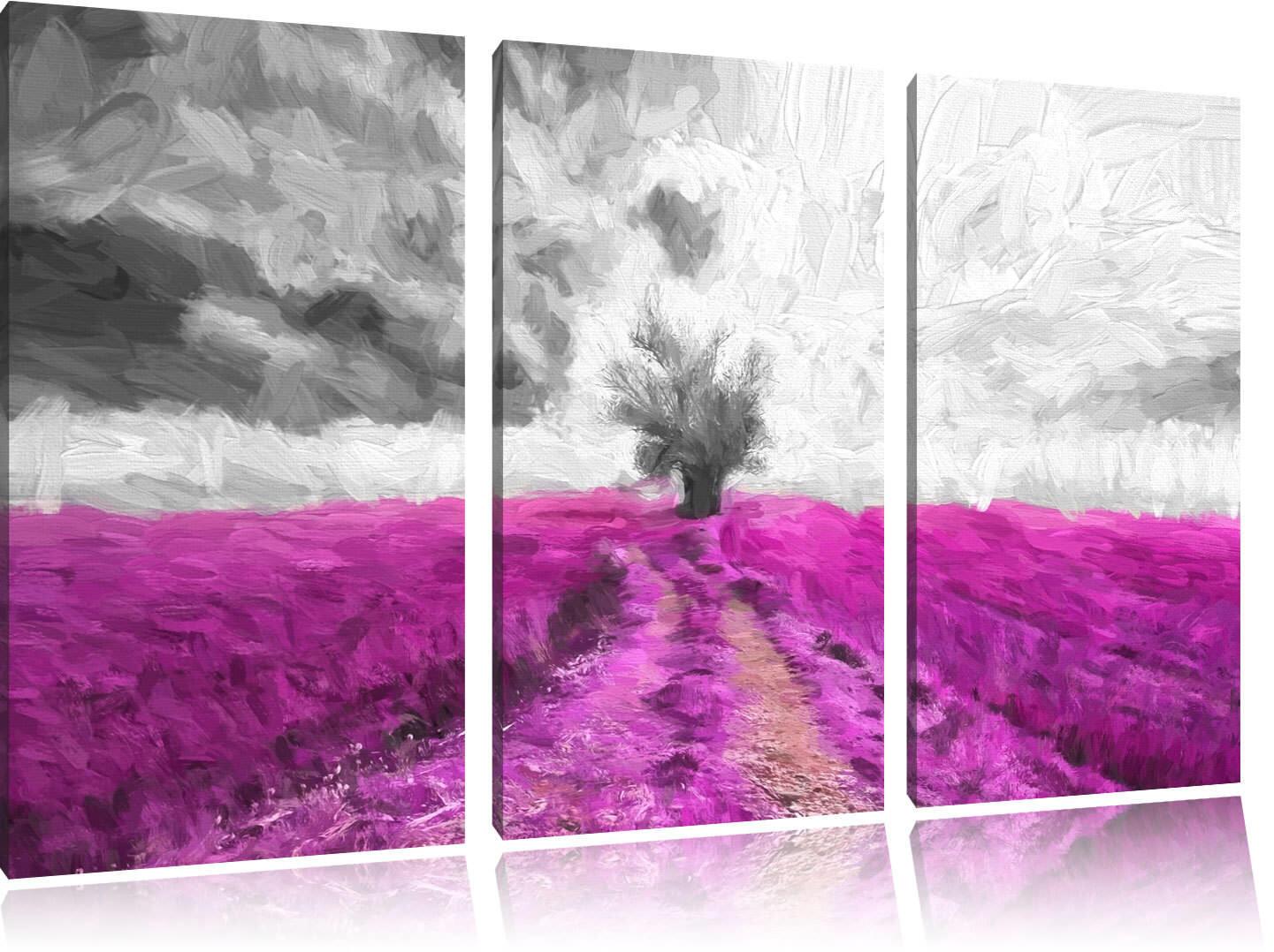 Bello Baum Im Campo di Lavanda 3-Teiler Quadro su Tel Decorazione Parete