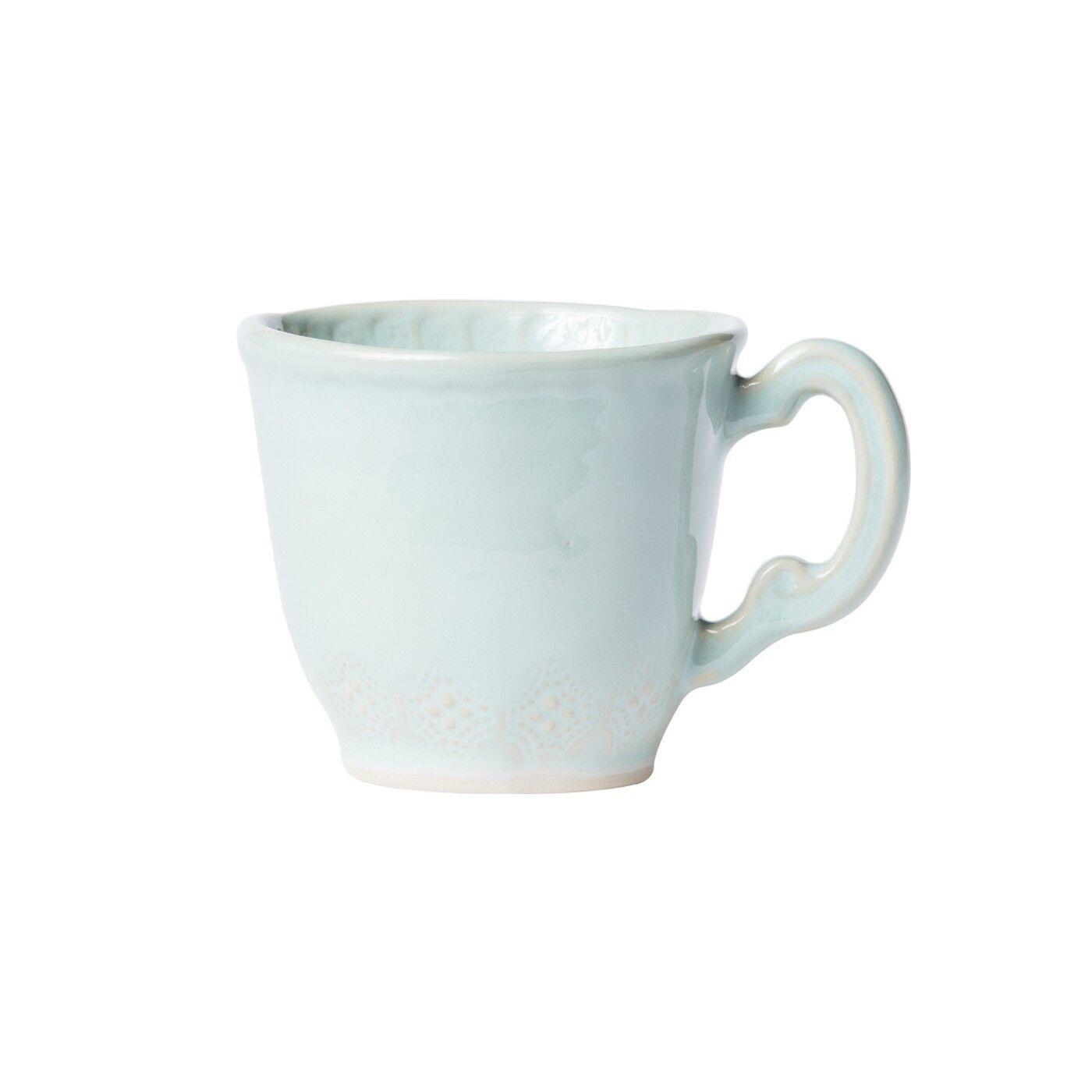 Vietri Incanto Stone Aqua Lace Mug - Set of 4