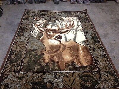 Deer Buck Hunting Lodge ** Border Rug For The Home New**5x8