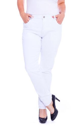 NUOVI Donna Jeans Da Donna Taglie Forti Pantaloni Gamba Dritta Denim Tasche NOUVELLE