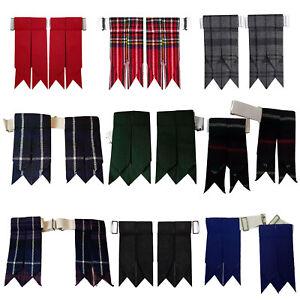 Scottish Kilt Sock Flashes various Tartans Highland Kilt Hose Flashes Garters