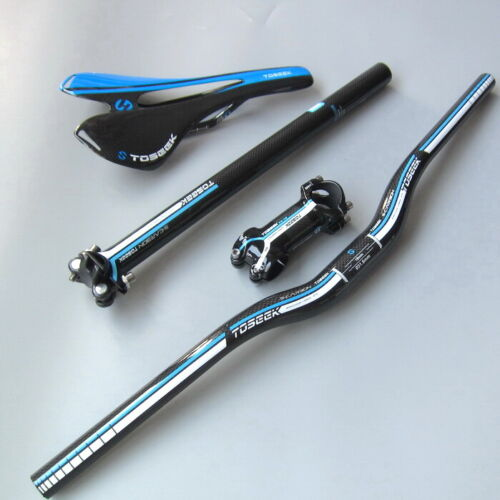 Blue Carbon Riser Handlebar 580-760 bar 27.2//30.8//31.6 Seatpost 7º Stem Saddles