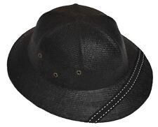 MM Summer 100% Straw Pith Helmet Postman Hat Black