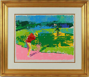 chipping on by leroy neiman magnificently framed neiman golf masterpiece ebay. Black Bedroom Furniture Sets. Home Design Ideas