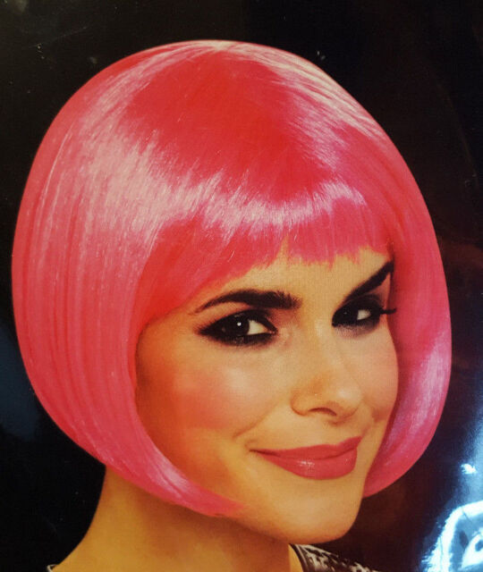 Pink Wig Neon Bob Short Hair Chin Length Night Club Dance Rave Costume