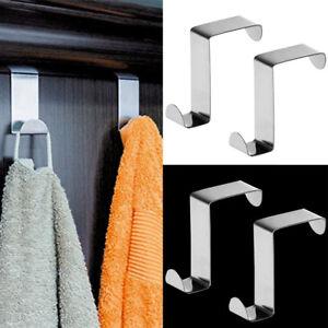 2Pcs-Stainless-Steel-Over-Door-Hooks-Set-Cabinet-Clothes-Hanger-Organizer-Holder