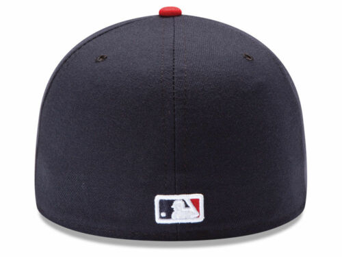 New Era Atlanta Braves HOME 59Fifty Fitted Hat Dark Navy//Red MLB Cap