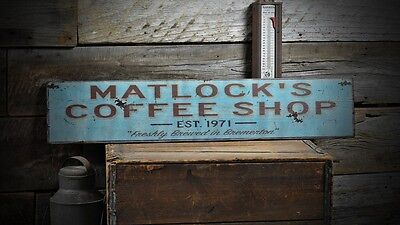 Custom Coffee Shop Est Date Sign - Rustic Hand Made Vintage Wooden ENS1000578