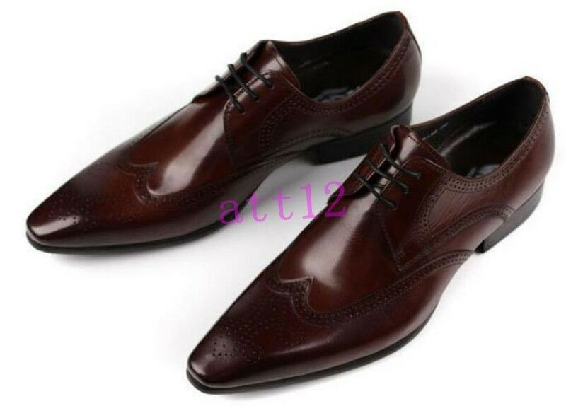 New uomo Flat Pointy Toe Business Dress Wedding Lace up Formal Cow Leather Shoes Scarpe classiche da uomo