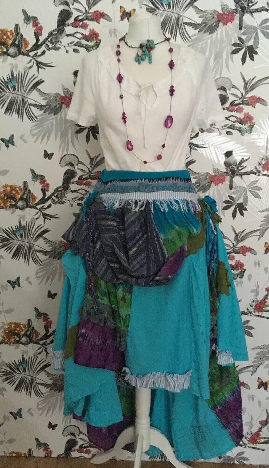 OOAK  Patchwork  Falda Libre Talla 10 12 14 16 18 20 22 24 Hippy Boho Larp Arty  diseños exclusivos